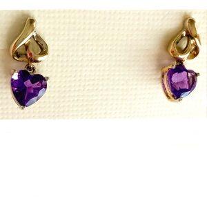🆕Gen Fine 14k Y Heart Amethyst Drop Earrings NWT